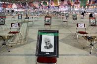 A photo of Qassem Soleimani, is seen during a ceremony to mark the one year anniversary of the killing of senior Iranian military commander General Qassem Soleimani in a U.S. attack, in Tehran