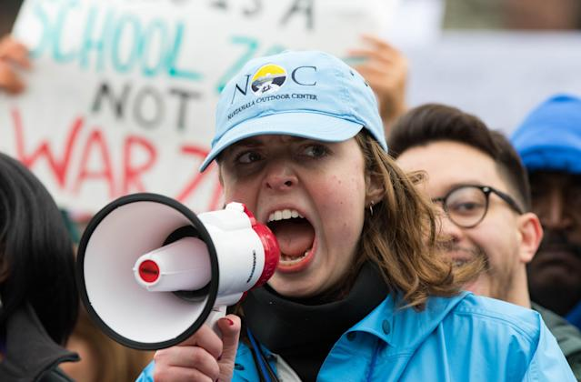 <p>Haley Zink, an organizer for the St. Louis March for Our Lives, shouts out chants during the March for Our Lives in downtown St. Louis on Saturday, March 24, 2018. (Austin Steele/Post-Dispatch/AP) </p>