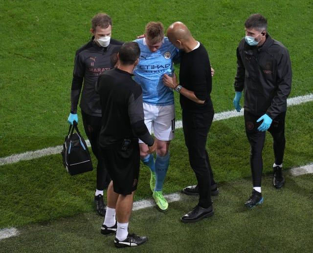 Manchester City playmaker Kevin De Bruyne was forced off through injury