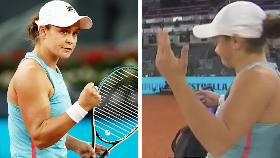 Aussie star Ash Barty was frustrated after a third-set challenge went against her at the Madrid Open, but nonetheless toppled world No.80 Tamara Zidansek 6-4, 1-6, 6-3 to move on to the fourth round. Pictures: Getty Images/Fox Sports
