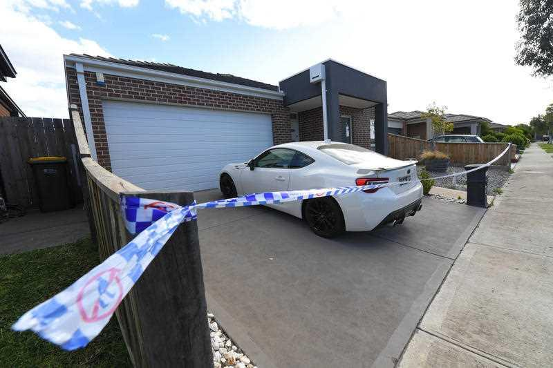 A general view of the scene where a woman's body was discovered in Mernda, Melbourne.