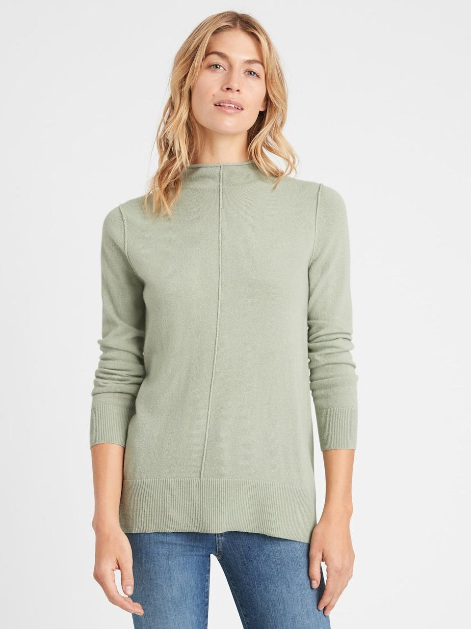 <p>For such a great price, why not try this <span>Banana Republic Italian Wool-Blend Sweater Tunic</span> ($29, originally $99) in this soft sage too!</p>