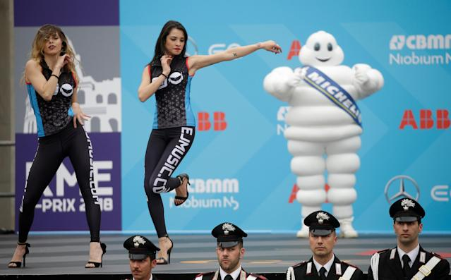Motor Racing - Formula E - Rome ePrix - Rome, Italy - April 14, 2018 Dancers on stage prior to the podium ceremony REUTERS/Max Rossi