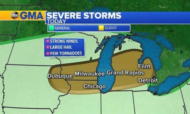 PHOTO: Severe storms are again possible in the Upper Midwest on Saturday. (ABC News)