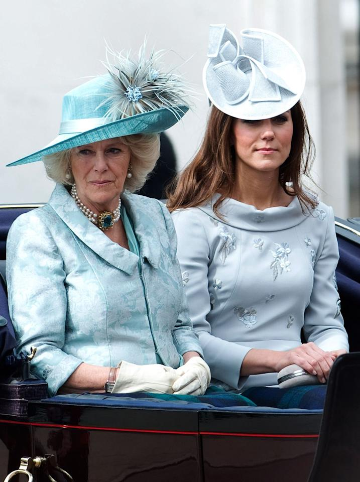 <p>Another Trooping the Colour, another chance to coordinate with Camilla. In 2012, the pair opted for a light blue colour palette.</p>