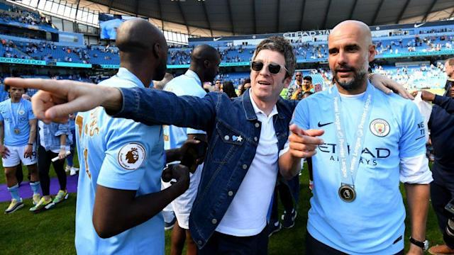 Man City fanatic Noel Gallagher was performing in Naples on Friday with his band the High Flying Birds.
