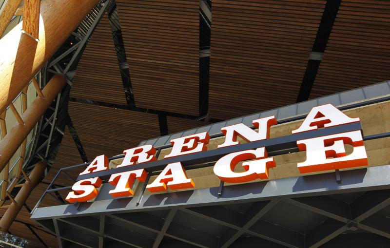 The sign of the Arena Stage at the new Mead Center for American Theater on the waterfront in southwest Washington, is seen in this photo taken Thursday, Oct. 7, 2010. Arena Stage, Washington's Tony Award-winning regional theater, is moving into its new $120 million home at the Meade Center for American Theater, which will anchor the city's southwest waterfront.  (AP Photo/Manuel Balce Ceneta)