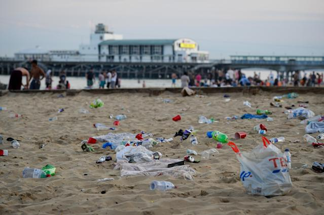 BOURNEMOUTH, ENGLAND - JUNE 25: Rubbish litters the beach after many visitors leave on June 25, 2020 in Bournemouth, United Kingdom. A major incident was declared by the local council as thousands flocked to Bournemouth and the Dorset coast. The UK is experiencing a summer heatwave, with temperatures in many parts of the country expected to rise above 30C and weather warnings in place for thunderstorms at the end of the week. (Photo by Finnbarr Webster/Getty Images)