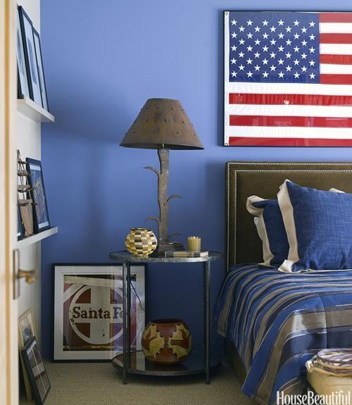 """<div class=""""caption-credit""""> Photo by: Reed Davis</div><div class=""""caption-title"""">An All-American Bedroom</div><p> To coordinate with the flag in this Santa Fe, New Mexico, bedroom - a gift the homeowner received after making a speech in Washington - designer Emily Henry painted one wall in Enchanting Sky by Dunn-Edwards. </p> <p> <b>See more:</b> </p> <p> <a rel=""""nofollow noopener"""" href=""""http://www.housebeautiful.com/shopping/best/4th-of-july-entertaining-ideas?link=emb&dom=yah_life&src=syn&con=blog_housebeautiful&mag=hbu"""" target=""""_blank"""" data-ylk=""""slk:11 Chic Finds for 4th of July Party"""" class=""""link rapid-noclick-resp""""><b>11 Chic Finds for 4th of July Party</b></a> <br> <br> <a rel=""""nofollow noopener"""" href=""""http://www.housebeautiful.com/decorating/home-makeovers/summer-home-decorating-ideas?link=emb&dom=yah_life&src=syn&con=blog_housebeautiful&mag=hbu"""" target=""""_blank"""" data-ylk=""""slk:50+ Easy Summer Decorating Ideas"""" class=""""link rapid-noclick-resp""""><b>50+ Easy Summer Decorating Ideas</b></a> </p>"""