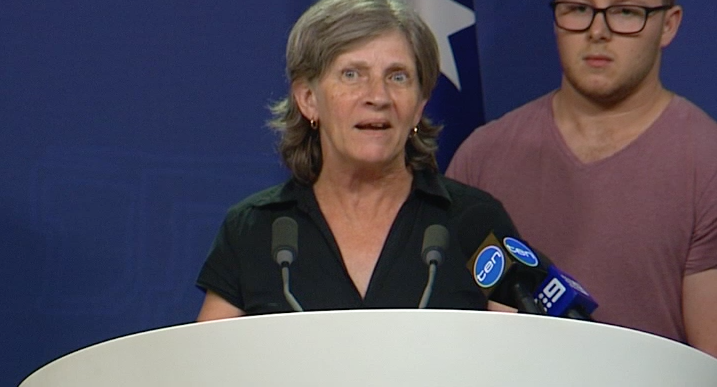 Evelyn Kathner called on Prime Minister Turnbull to try walking in her shoes. Photo: 7 News.