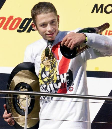 Valentino Rossi clinched his first world title, in the last season of 500cc, at the age of 22 in Australia in 2001