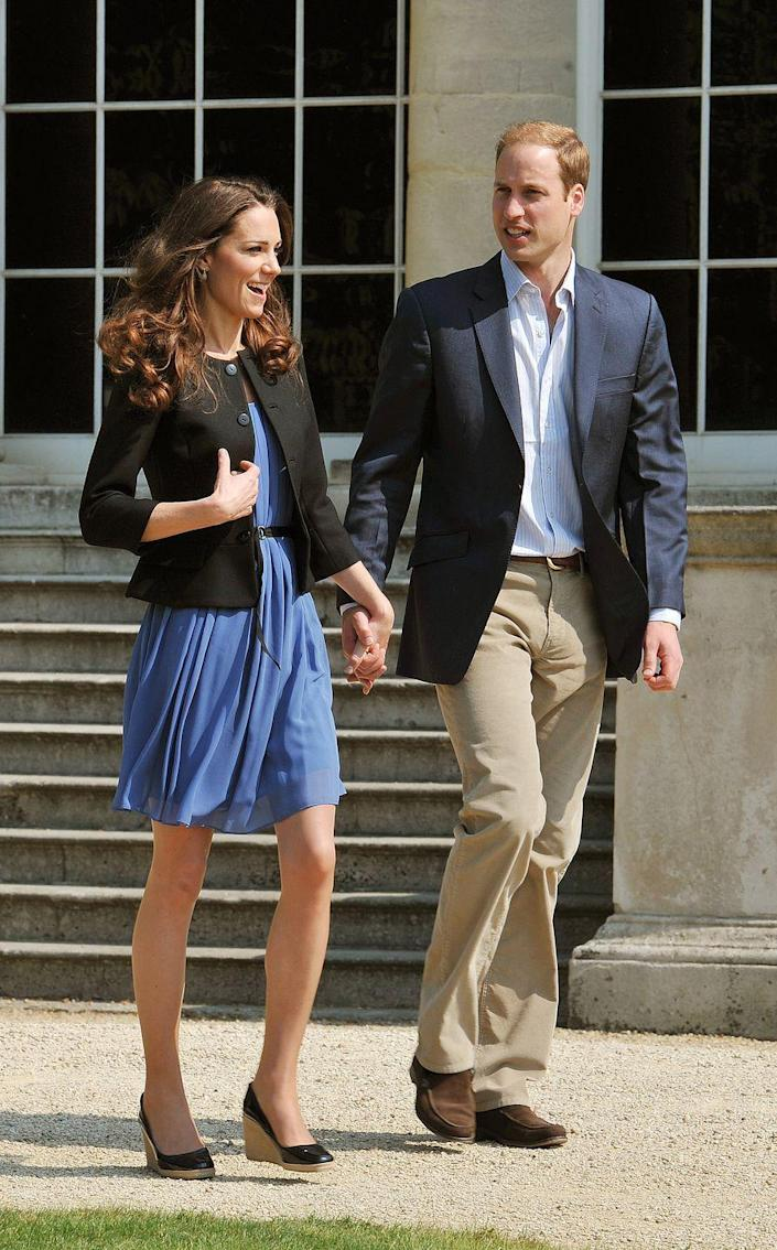 """<p>The Queen is known to detest wedges, which is why Kate Middleton only wears them when she isn't going to see the monarch. """"The Queen isn't a fan of wedged shoes,"""" a royal source told <a href=""""https://www.vanityfair.com/style/2015/07/kate-middleton-heel-insoles-alice-bow-queen-wedges"""" rel=""""nofollow noopener"""" target=""""_blank"""" data-ylk=""""slk:Vanity Fair"""" class=""""link rapid-noclick-resp""""><em>Vanity Fair</em></a>. """"She really doesn't like them and it's well known among the women in the family."""" Whenever the Duchess wears them, there is often a host of comments <a href=""""https://www.bustle.com/p/kate-middletons-wedges-break-queen-elizabeths-royal-style-rule-27634575"""" rel=""""nofollow noopener"""" target=""""_blank"""" data-ylk=""""slk:about royal protocol"""" class=""""link rapid-noclick-resp"""">about royal protocol</a>.</p>"""