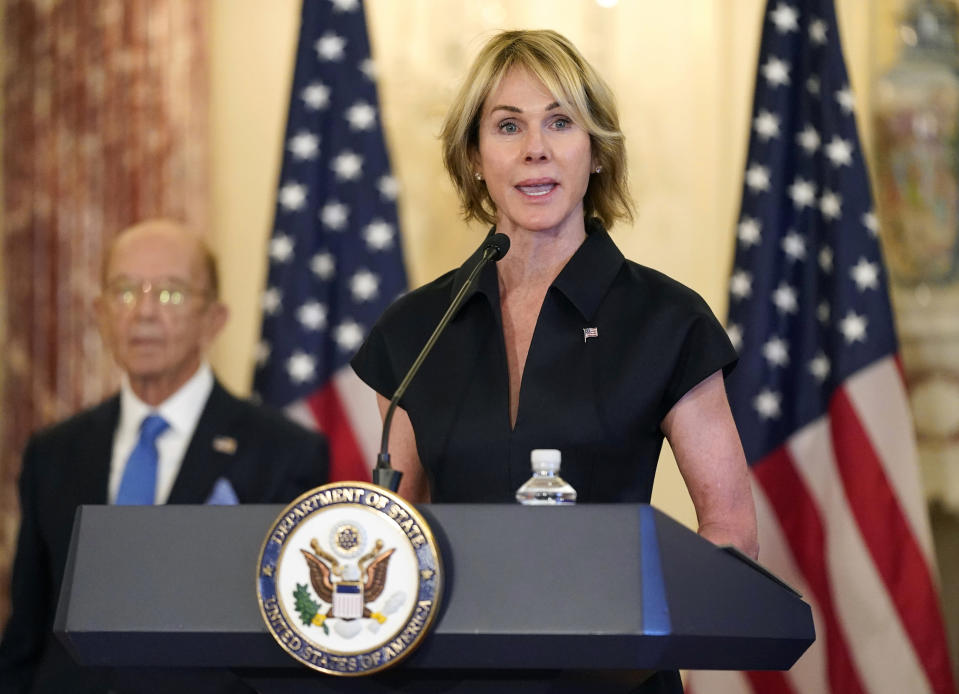 FILE - In this Sept. 21, 2020, file photo, U.S. Ambassador to the United Nations Kelly Craft speaks during a news conference at the U.S. State Department in Washington. According to the United States Mission to the United Nations, Craft will travel to Taipei Jan. 13-15, 2021, for meetings with senior Taiwanese counterparts and members of the diplomatic community in order to bolster relations and show continued support with the island. (AP Photo/Patrick Semansky, File)