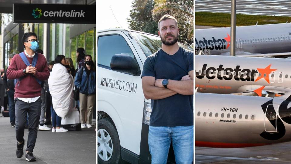 A man wearing a mask walking past a Centrelink queue on the left, a man standing in front of his van in the centre, and three Jetstar planes on the right.