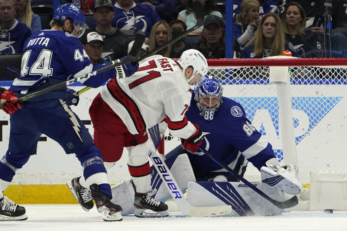 Carolina Hurricanes right wing Jesper Fast (71) scores past Tampa Bay Lightning goaltender Andrei Vasilevskiy (88) during the second period in Game 4 of an NHL hockey Stanley Cup second-round playoff series Saturday, June 5, 2021, in Tampa, Fla. (AP Photo/Chris O'Meara)
