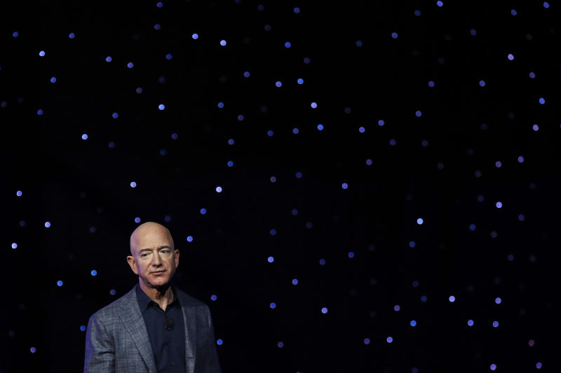 """FILE- In this May 9, 2019, file photo Jeff Bezos speaks at an event to unveil Blue Origin's Blue Moon lunar lander in Washington. Two U.N. experts this week called for the U.S. to investigate a likely hack of Bezos' phone that could have involved Saudi Arabian Crown Prince Mohammed bin Salman. A commissioned forensic report found with """"medium to high confidence"""" that Bezos' phone was compromised by a video MP4 file he received from the prince in May 2018. (AP Photo/Patrick Semansky, File)"""