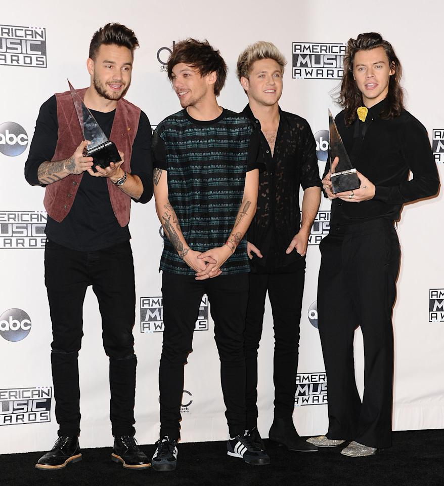 """<p>The first five albums by the English-Irish boy band have made the top 10. 1D was the first group to reach #1 with its first four studio albums since the Monkees in the mid-1960s. Its fifth album peaked at #2 last week. The group has also notched six top 10 singles. 1D's biggest hit is """"Best Song Ever"""" (#2). The smash was featured on <i>Midnight Memories</i>, which was the best-selling album of 2013 in the U.K.</p>"""