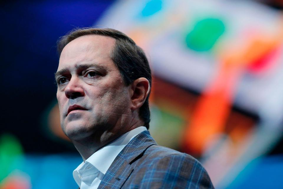 Cisco Systems chief executive officer Chuck Robbins delivers a keynote speech at the Mobile World Congress (MWC) in Barcelona (AFP via Getty Images)