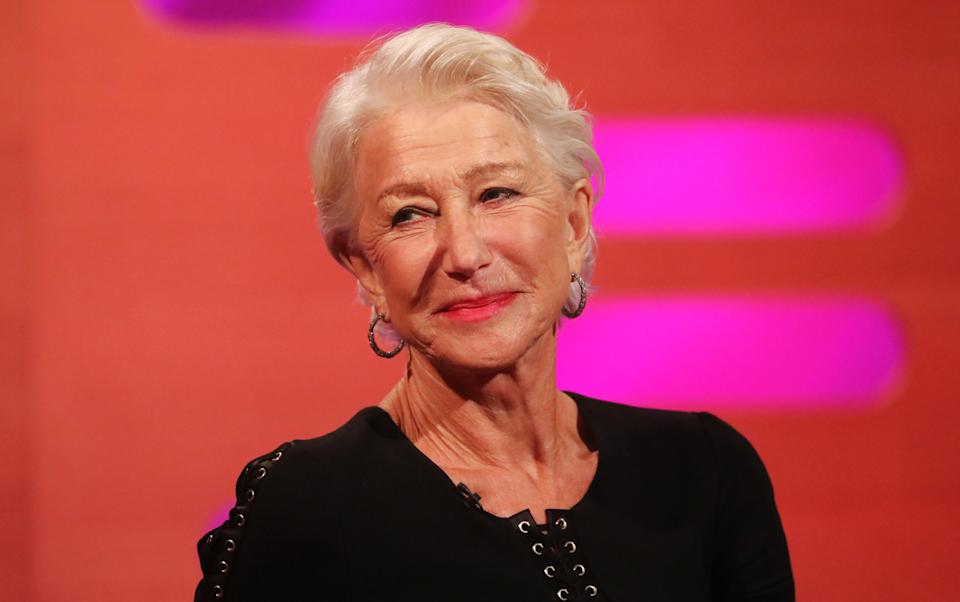 Helen Mirren during the filming for the Graham Norton Show at BBC Studioworks 6 Television Centre, Wood Lane, London, to be aired on BBC One on Friday evening. (Photo by Isabel Infantes/PA Images via Getty Images)