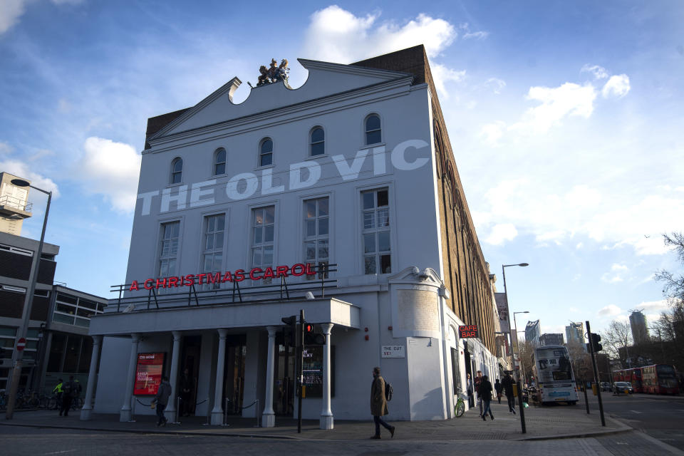 Exterior general view of the Old Vic theatre in central London. PA Photo. Picture date: Friday January 10, 2020. See PA story CITY Theatre. Photo credit should read: Victoria Jones/PA Wire (Photo by Victoria Jones/PA Images via Getty Images)