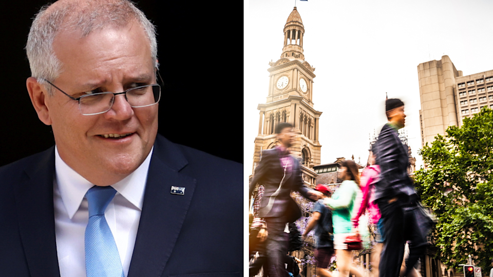 Prime Minister Scott Morrison revealed the federal government will start creating a path out of COVID-19 lockdown for NSW this week. Source: Getty/Yahoo Finance