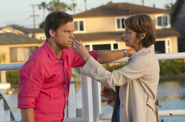 "Michael C. Hall as Dexter Morgan and Charlotte Rampling as Dr. Vogel in the ""Dexter"" Season 8 episode, ""Are We There Yet?"""