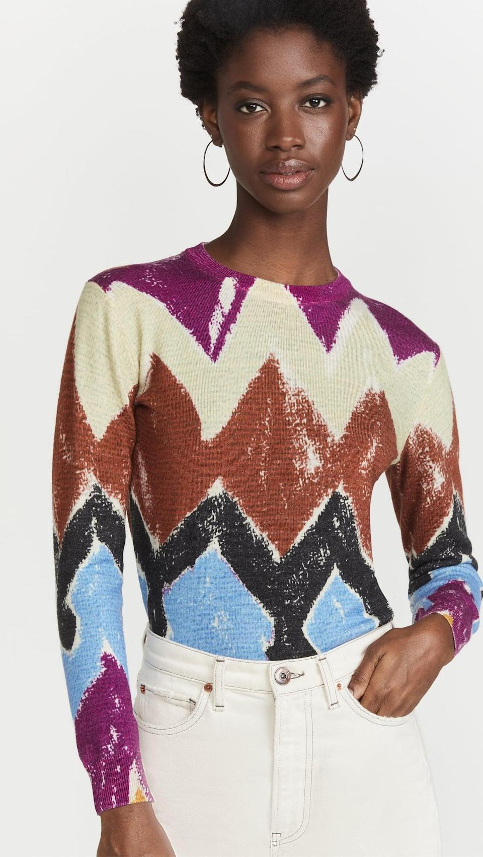 <p>This <span>Stella Jean Sweater</span> ($525) makes a colorful, splurge-worthy purchase you'll cherish among your favorite fall tops. From the silhouette to the print, it exudes easy elegance.</p>