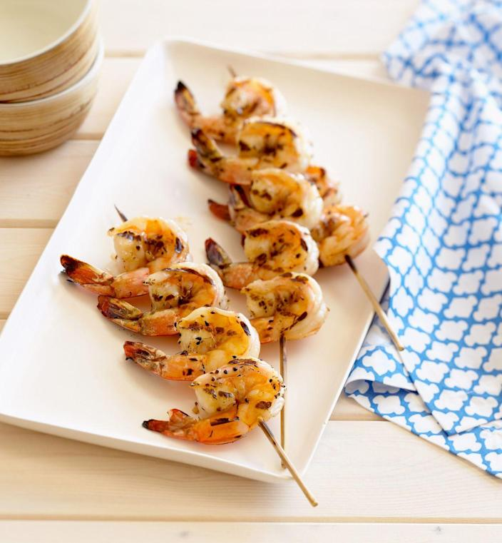 """<p>Shrimp is another type of seafood that's low in calories and high in protein, with less than 100 calories and 22 grams of protein in a 4-ounce serving. And it doesn't have to be saved for special occasions—try this <a href=""""https://www.prevention.com/food-nutrition/recipes/a26986140/shrimp-avocado-and-egg-chopped-salad-recipe/"""" rel=""""nofollow noopener"""" target=""""_blank"""" data-ylk=""""slk:Shrimp, Avocado, and Egg Chopped"""" class=""""link rapid-noclick-resp"""">Shrimp, Avocado, and Egg Chopped</a> salad for lunch next week.</p>"""