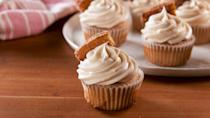 """<p>Buttery cinnamon-sugar cupcakes spice up the dessert table. </p><p>Get the recipe from <a href=""""https://www.delish.com/cooking/recipe-ideas/a27260230/churro-cupcakes-recipe/"""" rel=""""nofollow noopener"""" target=""""_blank"""" data-ylk=""""slk:Delish"""" class=""""link rapid-noclick-resp"""">Delish</a>.</p>"""