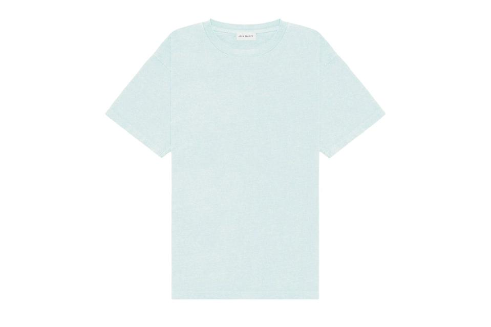 """There are the tees you want to be crisp and fitted, just right for tucking in with a suit. And then there are the other tees, the weekend tees, that are big and roomy in all the right ways. That's this tee from John Elliott, rendered in super-soft recycled cotton that's ideal for hardcore lounging.<br> <br> <em>John Elliott University tee</em> $98, John Elliott. <a href=""""https://www.johnelliott.com/products/university-tee-mint"""" rel=""""nofollow noopener"""" target=""""_blank"""" data-ylk=""""slk:Get it now!"""" class=""""link rapid-noclick-resp"""">Get it now!</a>"""