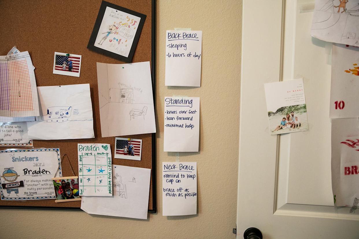 Some reminders of Braden's treatment hang on the wall in the Scott family home. | Ilana Panich-Linsman for TIME