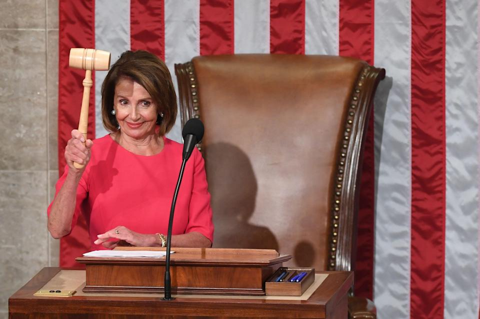 House Speaker Nancy Pelosi, D-Calif., holds the gavel during the opening session of the 116th Congress at the U.S. Capitol on Jan. 3, 2019.