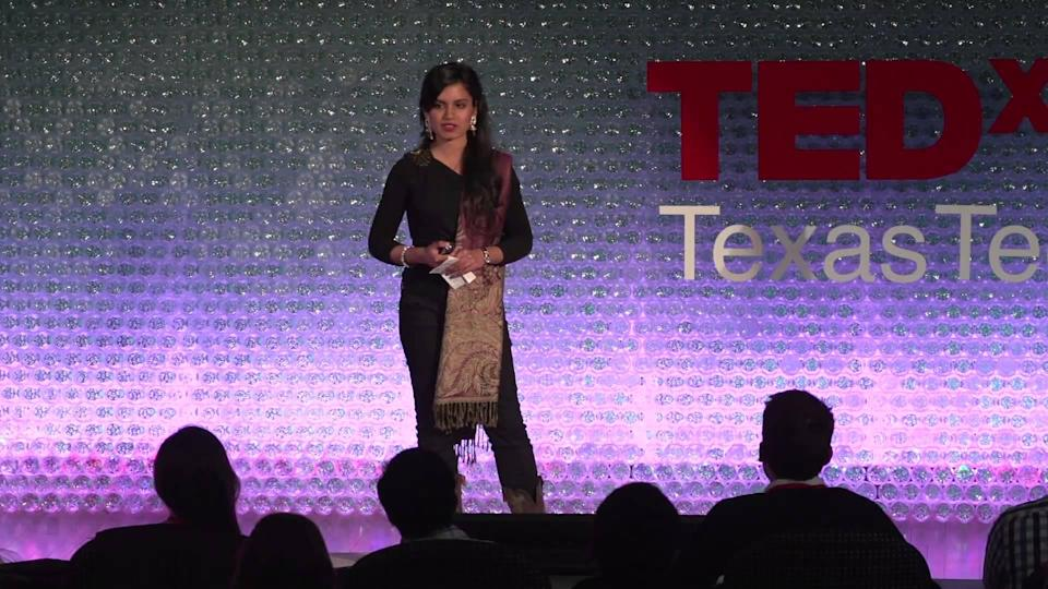 Saba Nafees, 25, speaks at a TEDx event at Texas Tech, where she is pursuing her Ph.D. Nafees, a DACA recipient, immigrated from Pakistan to the U.S. when she was 11 years old (YouTube).