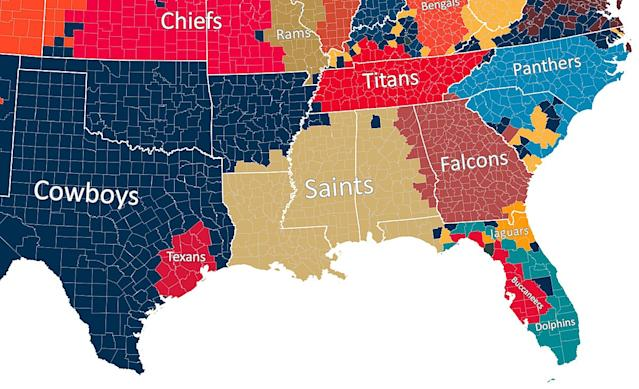 Map Shows Which Nfl Team Every Us County Roots For - Us-map-nfl-teams