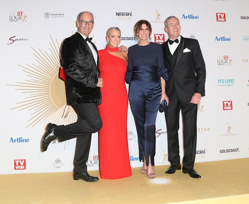Sunrise stars Kochie, Sam Armytage, Natalie Barr and Mark Beretta on the 2019 Logies red carpet on Sunday night.