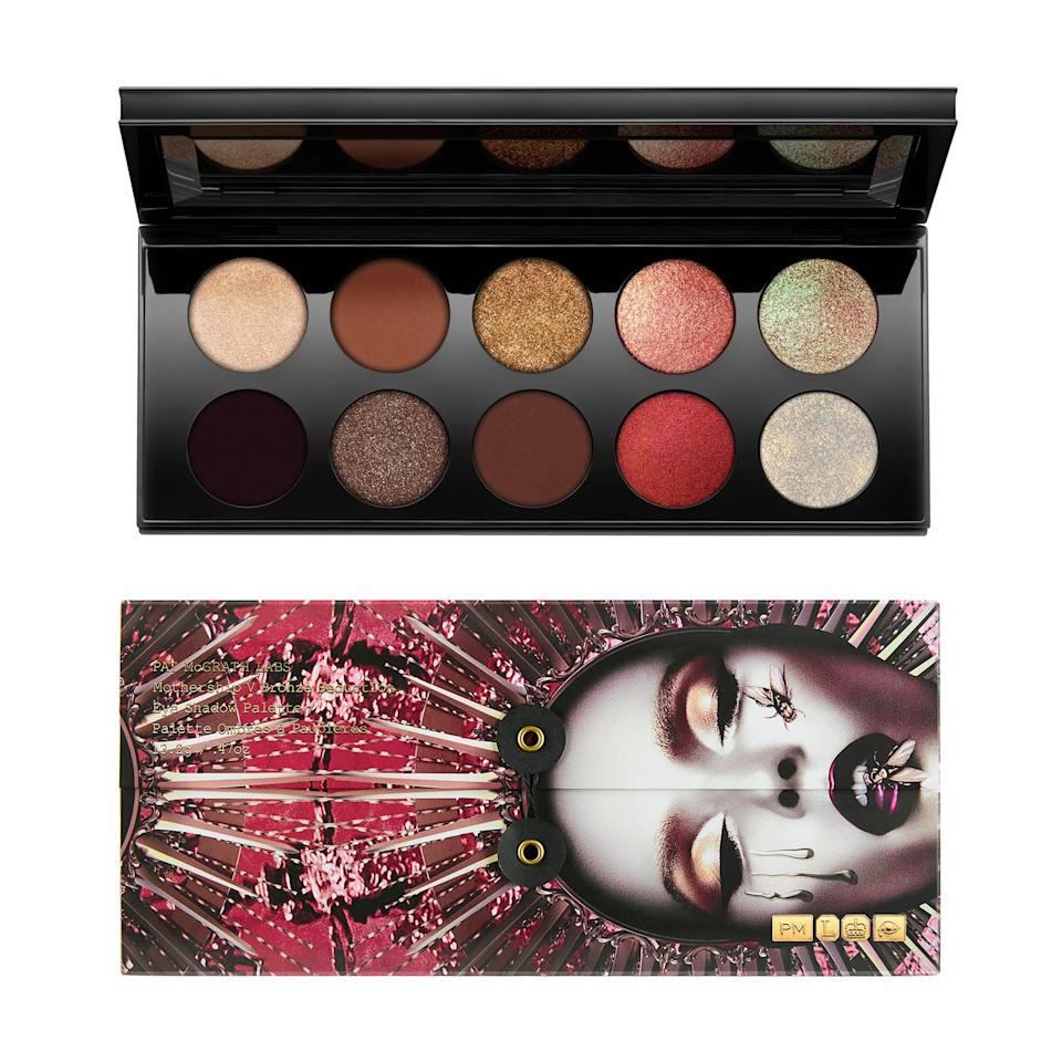 """<p>The fifth installment of Pat McGrath's eye shadow palettes is this stunner that features warm bronzes, golds, and reds. The real treat is the two holographic shades towards the end, VR Fire Opal and Astral Luna Gold, which look gold and white but shift to a green and gold, respectively.</p> <p>$125 (<a rel=""""nofollow noopener"""" href=""""https://shop-links.co/1650097407705963358"""" target=""""_blank"""" data-ylk=""""slk:Shop Now"""" class=""""link rapid-noclick-resp"""">Shop Now</a>)</p>"""