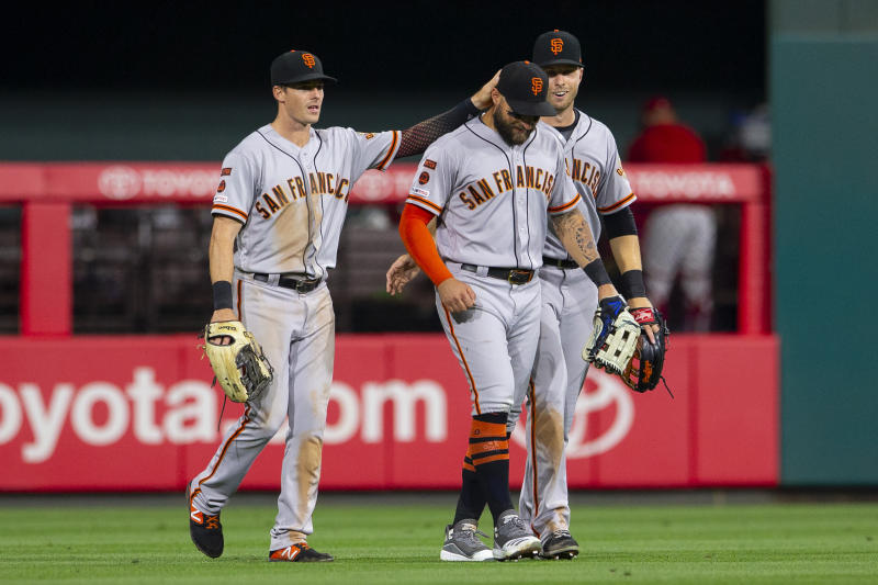PHILADELPHIA, PA - JULY 31: Mike Yastrzemski #5, Kevin Pillar #1, and Austin Slater #53 of the San Francisco Giants celebrate after the game against the Philadelphia Phillies at Citizens Bank Park on July 31, 2019 in Philadelphia, Pennsylvania. The Giants defeated the Phillies 5-1. (Photo by Mitchell Leff/Getty Images)