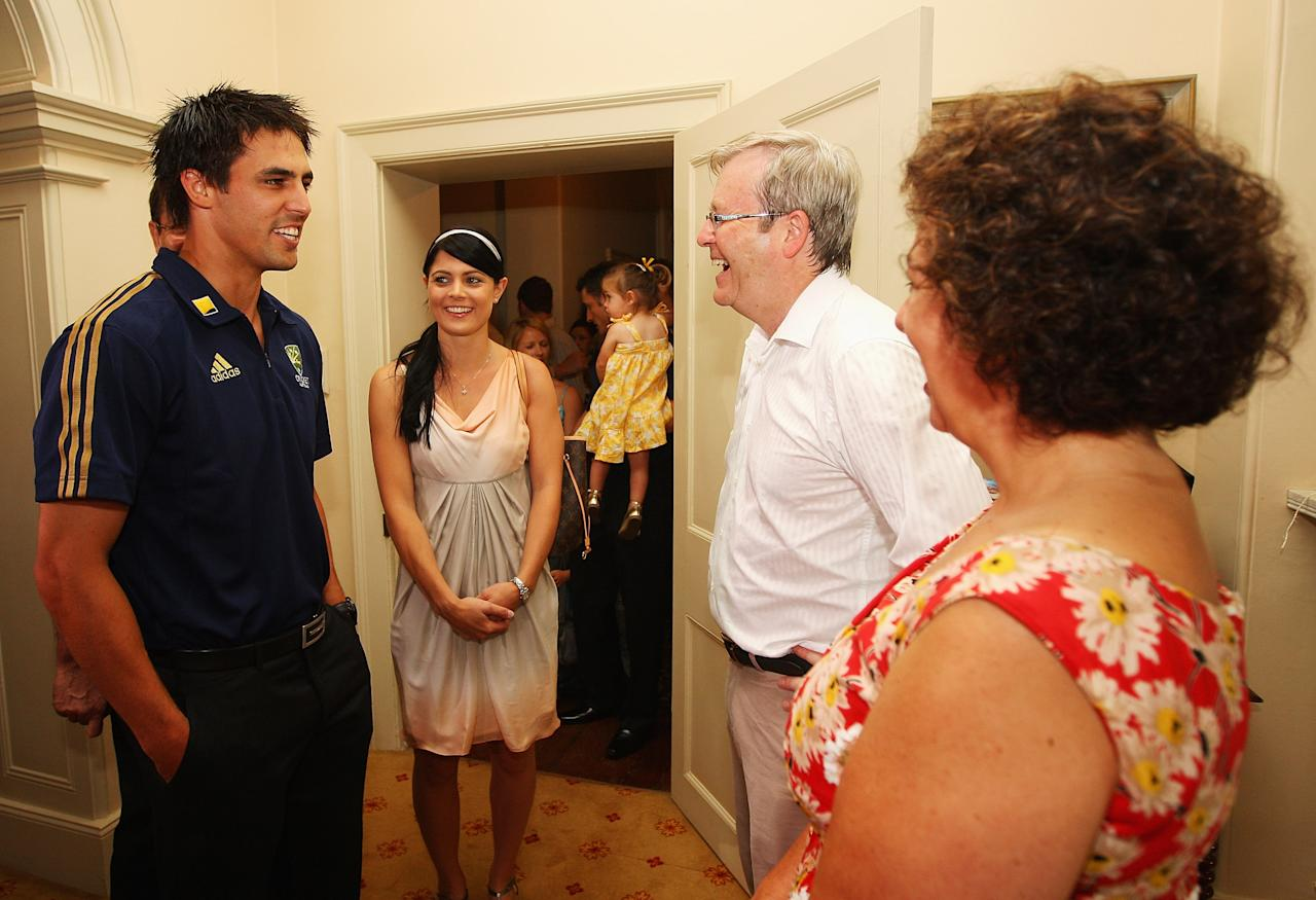 SYDNEY, AUSTRALIA - JANUARY 02:  Australian Prime Minister Kevin Rudd and his wife Therese Rei welcome Australian player Mitchell Johnson and his partner Jessica Bratich to a function for the Australian and Pakistan cricket teams at Kirribilli House on January 2, 2010 in Sydney, Australia.  (Photo by Cameron Spencer/Getty Images)