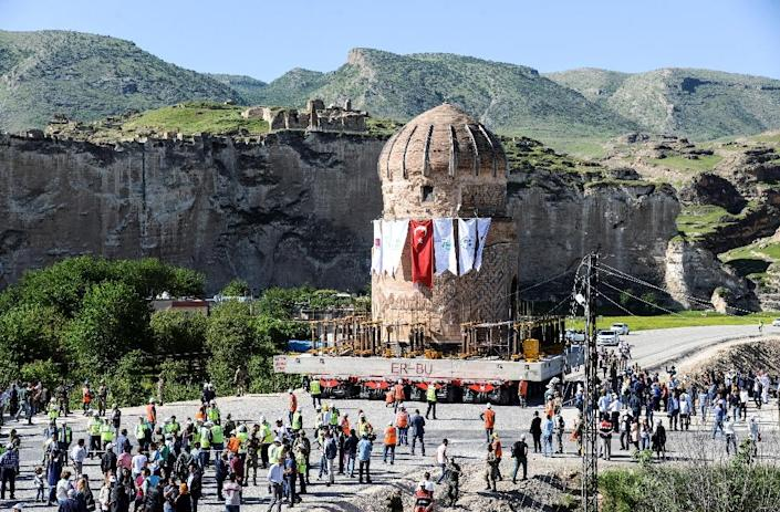 """The 15th-century tomb of Zeynel Bey was transfered to a new """"archeological park"""" in May, a move that infuriated critics who say the dam project will destroy one of the oldest human settlements ever discovered (AFP Photo/ILYAS AKENGIN)"""