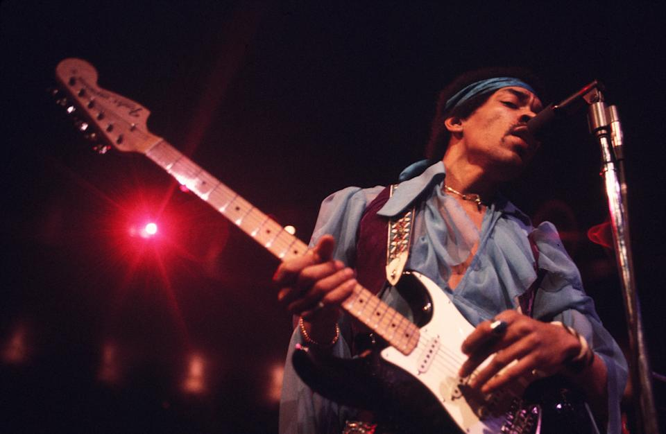 Jimi Hendrix (1942 - 1970) performing at Madison Square Garden, New  York City, 18th May 1969. (Photo by Walter Iooss Jr./Getty Images)