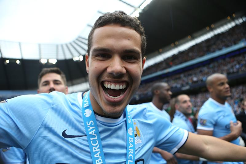 Barclays Premier League, Manchester City v West Ham United, Etihad Stadium, Manchester City's Jack Rodwell celebrates at the end of the game (Photo by Sharon Latham/Manchester City FC via Getty Images)