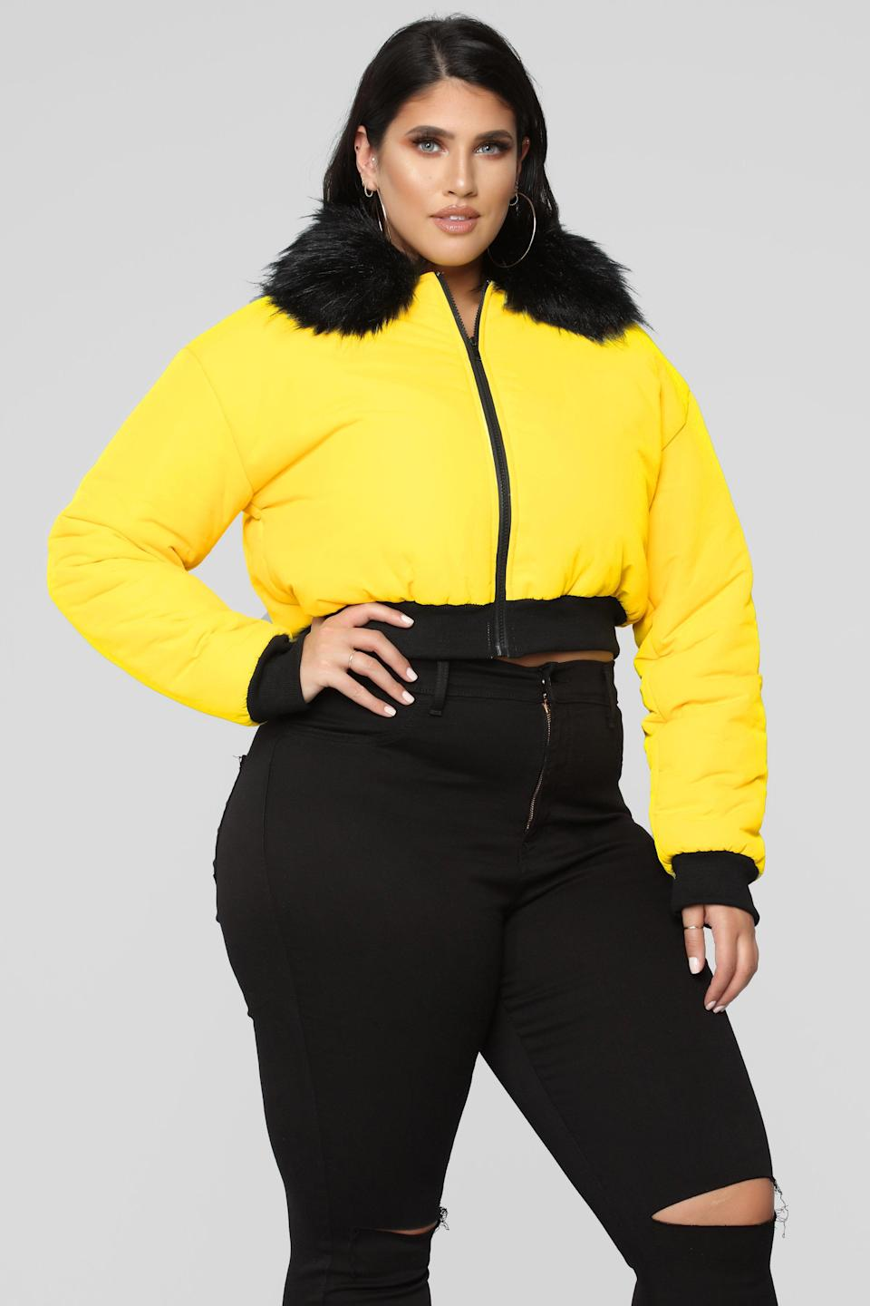 "<p>The past year has been all about cropped silhouettes and winter is no expection. Not only will this cropped jacket look fabulous with a pair of high waist leggings, its faux fur collar is perfect for winter.<br><a href=""https://go.skimresources.com?id=125078X1586062&xs=1&url=https%3A%2F%2Fwww.fashionnova.com%2Fcollections%2Fplus-jackets%2Fproducts%2Fcenter-attention-puffer-jacket-yellow"" rel=""nofollow noopener"" target=""_blank"" data-ylk=""slk:Shop it:"" class=""link rapid-noclick-resp""><strong>Shop it:</strong> </a>Center Of Attention Puffer Jacket, $50, <a href=""https://go.skimresources.com?id=125078X1586062&xs=1&url=https%3A%2F%2Fwww.fashionnova.com%2Fcollections%2Fplus-jackets%2Fproducts%2Fcenter-attention-puffer-jacket-yellow"" rel=""nofollow noopener"" target=""_blank"" data-ylk=""slk:fashionnova.com"" class=""link rapid-noclick-resp"">fashionnova.com</a> </p>"