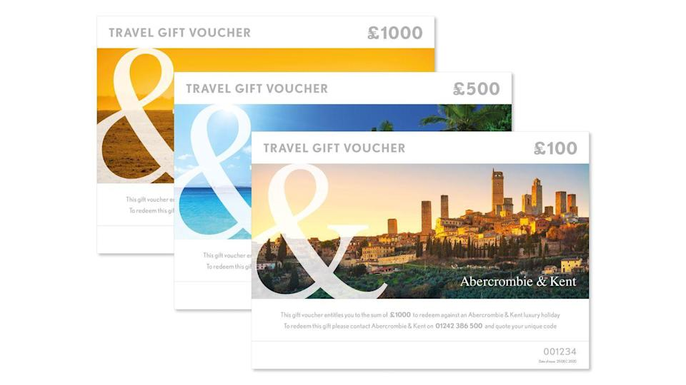 """<p>With vaccination numbers up and Covid cases steadily declining across the country, the prospect of travelling in the near future is slowly becoming more of a possibility. Inspire future travels with a set of gift vouchers from the luxury tour operator Abercrombie & Kent. Voucher values start from £50 all the way up to £1,000 and can be put towards trips, experiences and tailor-made itineraries the world over. </p><p>From £50, <a href=""""https://www.abercrombiekent.co.uk/campaign/2020/giftvouchers"""" rel=""""nofollow noopener"""" target=""""_blank"""" data-ylk=""""slk:Abercrombie & Kent"""" class=""""link rapid-noclick-resp"""">Abercrombie & Kent</a>.</p>"""