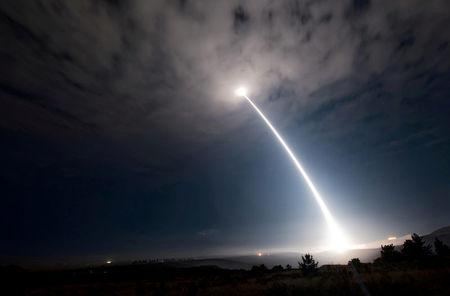 An unarmed Minuteman III intercontinental ballistic missile launches during an operational test at 2:10 a.m. Pacific Daylight Time at Vandenberg Air Force Base, California, U.S., August 2, 2017.  Picture taken August 2, 2017.  U.S. Air Force/Senior Airman Ian Dudley/Handout via REUTERS