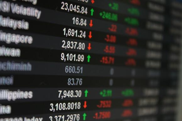 Asian stock market data on an LED display