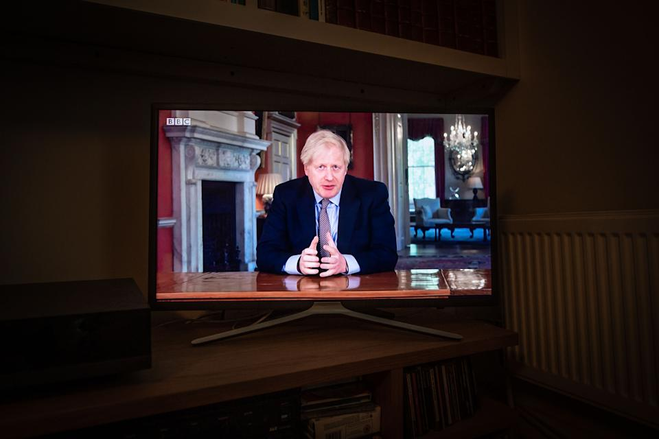 Prime minister Boris Johnson speaks on a television set in a living room in north London.  Picture date: Sunday May 10, 2020. Photo credit should read: Matt Crossick/Empics