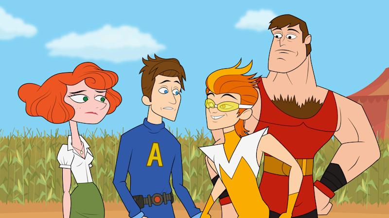 """This publicity image released by Hulu shows characters from """"The Awesomes,"""" from left, Concierge, voiced by Emily Spivey, Prock, voiced by Seth Meyers, Frantic, voiced by Taran Killam, and Muscleman, voiced by Ike Barinholtz. The animated series premieres Aug. 1, on Hulu. (AP Photo/Hulu)"""