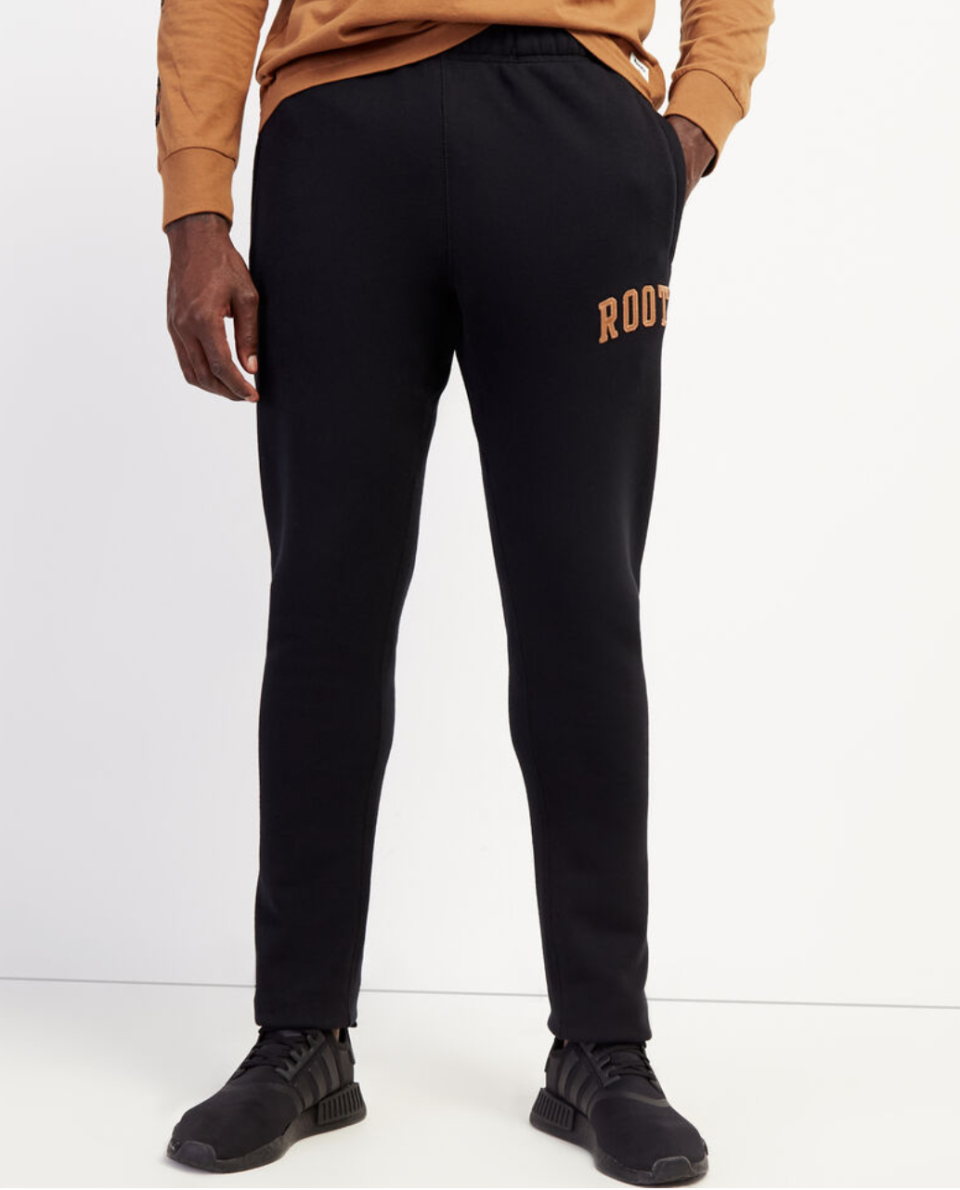 Roots Arch Park Slim Open Bottom Sweatpant. Image via Roots.