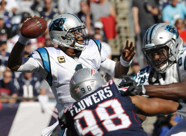 Cam Newton has thrown five touchdowns to go with five interceptions this season. (AP)