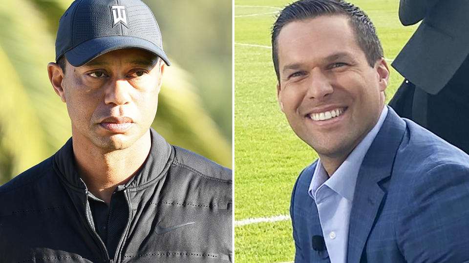 Andy Scholes and Tiger Woods, pictured here before the horror car crash.